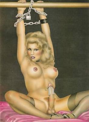 Waiting in bondage -- sissy chastized in stockings and high heels and chained to a bed